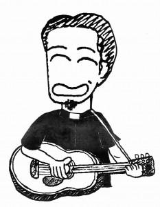 川上盾(ギター、牧師シャツ 濃い目)